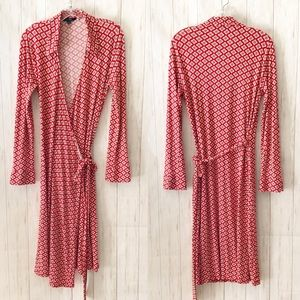 Boden Red Printed Collar Long Sleeve Wrap Dress 12